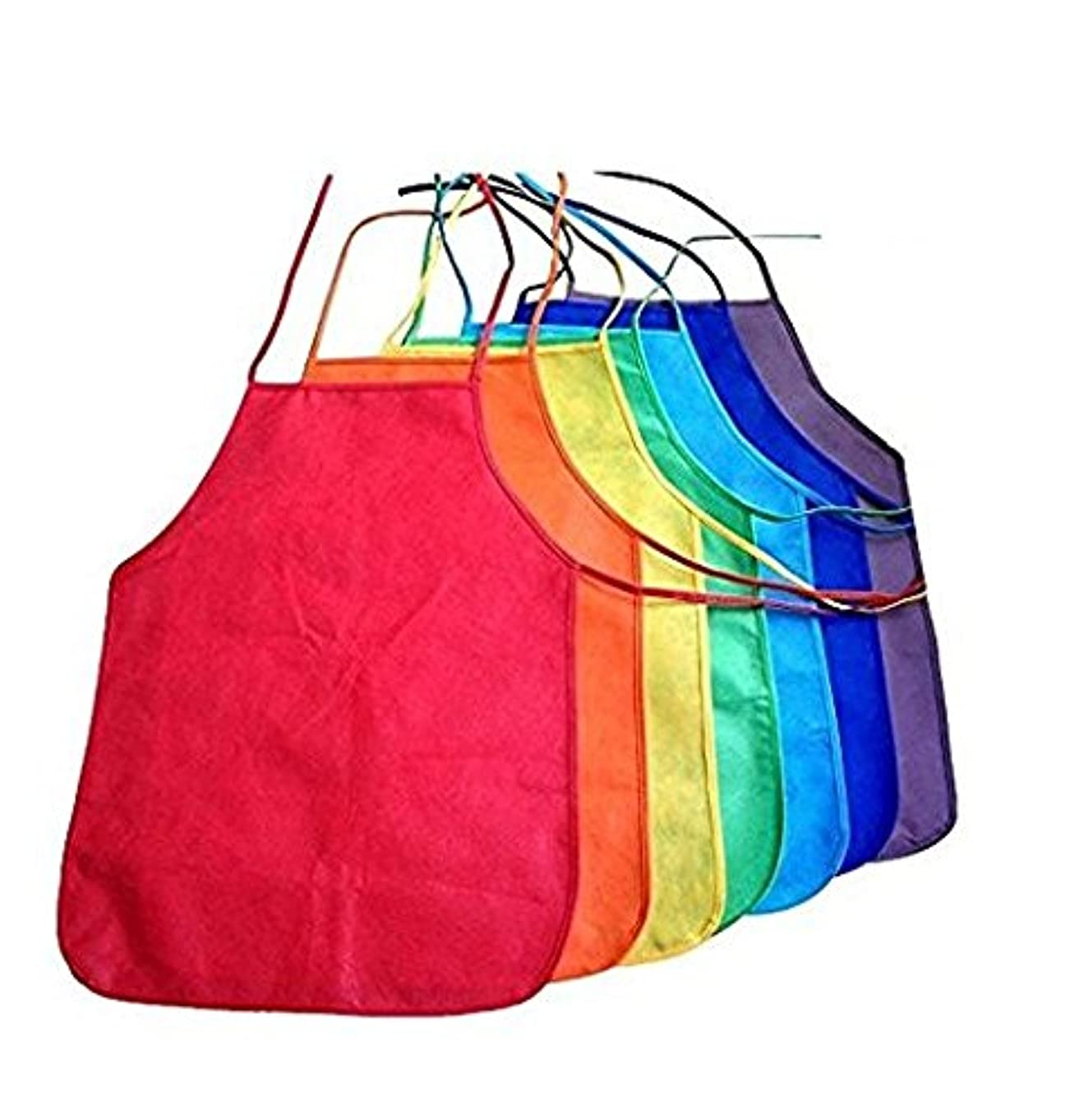 Multicolored Kids Artists Apron Set of 6 Open Back Sleeveless Art Craft Smock Aprons   Children's Assorted Variety Pack of 6 Colorful DIY Protective Reusable Kitchen   Painting Aprons Ages 3 and Up