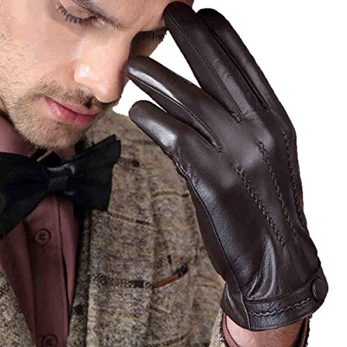 Mode Hommes Gants Bouton Gants En Cuir D'Hiver Gants Coupe-Vent Único Moto Gants (Color : Braun, Size : XL)