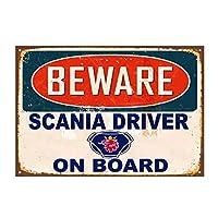 トラックトラック運転手にスカニアドライバーに注意してくださいビンテージレトロブリキ看板