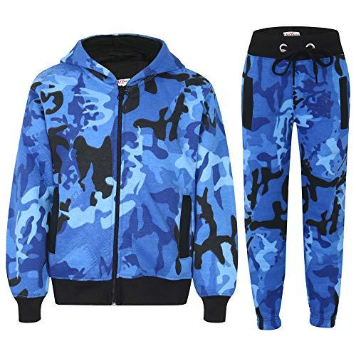 A2Z 4 Kids® Trainingsanzug für Jungen und Mädchen, Camouflage-Druck, mit Reißverschluss, Kapuzenpullover, Jogginganzug, Alter 5 6 7 8 9 10 11 12 13 Jahre Gr. 11-12 Jahre, blau