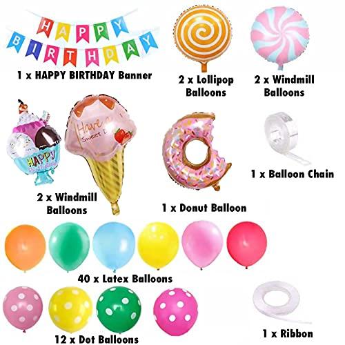 Migaven 62Pcs Donut Kit de Decoración Para Fiesta de Cumpleaños Que Incluye Banner Ribbon Foil Donut Ice Cream Molino de Viento Lollipop Látex Dot Globos Cadena para Niñas Niños Mujeres