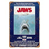 KENSILO Metal Sign Jaws Movie Poster Vintage Retro Tin Signs Bar Man Cave Wall Decor Home Decoration 8 x 12 inches