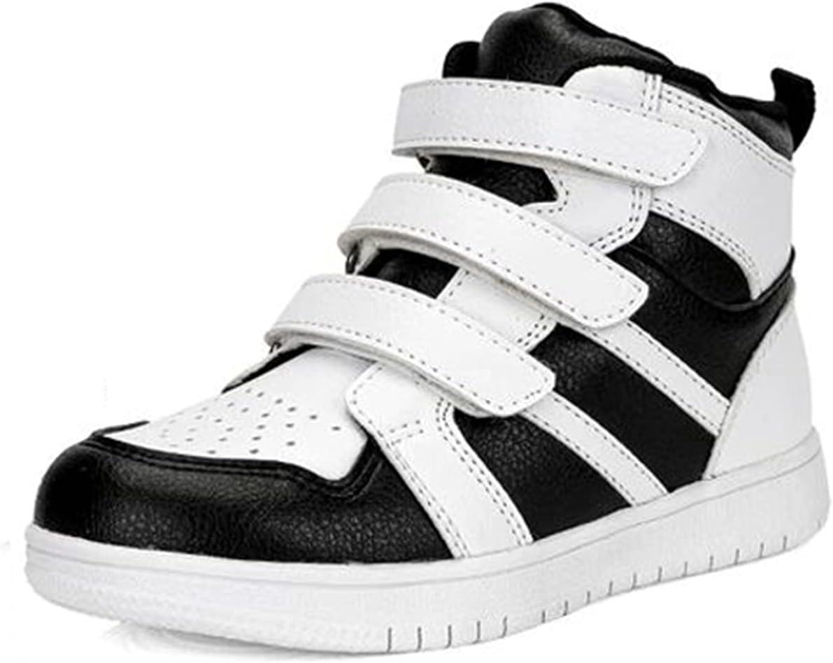 SQOAEE Zapatos ortopédicos para niños Zapatillas de Deporte con Soporte Arco Zapatillas de Deporte correctivas Cuero Genuino con Espalda Alta para piernas Forma XO Pies Planos Hallux Valgus,Negro,33