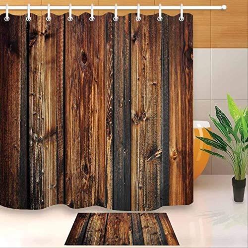 bbbbbb Duschvorhang Antik Holz Duschvorhang Braune Holzplanke Zaun und Badematte er Polyester Vorhang und Matte Set