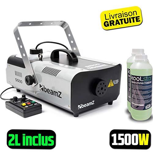 Beamz S1500 Nebelmaschine 1500 W Pro Sono DJ DMX – 2 l Flüssigkeit inklusive Fernbedienung mit Timer und 3 m Kabel
