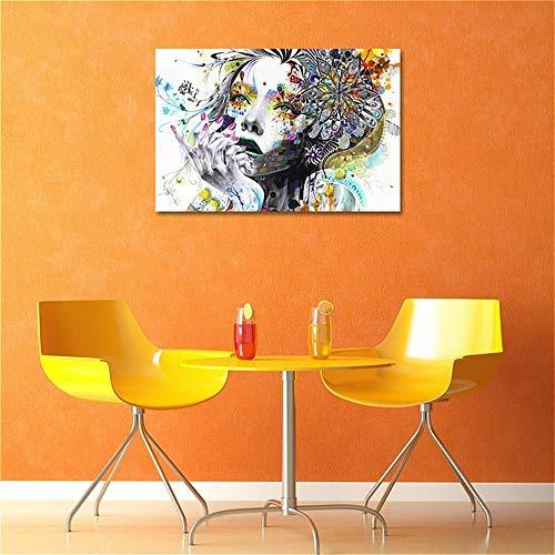 Ölgemälde auf Leinwand, Wanddekoration Schlafzimmer Wohnzimmer Hintergrund Villa Art Wandmalereien, Abstrakt Bunt Blumenmädchen 40x60cm Rahmenlos
