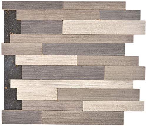 Selbstklebnde Mosaikmatte Verbund Holz mix grey für WAND KÜCHE Wandverblender Fliesenspiegel Verkleidung | 10 Matten