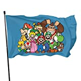 BHGYT Super Mario Flagge 3x5 FtDecorative im Freien Anti-UV-Fading in Innenräumen Flaggen Saisonale und Holiday Yard Flag Banner Polyester 3x5 Fuß