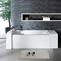 """✅ [DIMENSIONS AND SPECIFICATIONS]: Exterior Dimension: 60"""" Long x 30"""" Wide x 20"""" Deep – Effective Tub Capacity: 50 Gallons , Brushed Nickel Drain and Overflow. ✅ [PREMIUM QUALITY CONSTRUCTION]: Woodbridge bathtub is made out of 100% high gloss white ..."""
