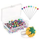 Pllieay 220 PCS Sewing Pins 38mm MulticolorStraight Quilting PinsIncluding Pin Cushion for Dressmaking Jewelry Components Flower Decoration, 8 Colors