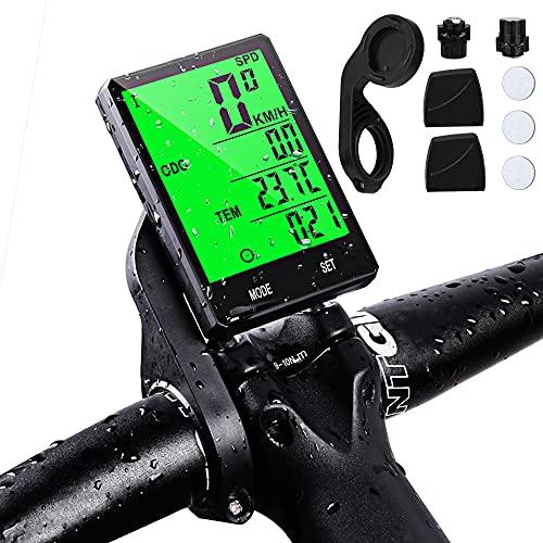 Cuentakilómetros para Bicicleta Inalámbrica, Computadora de Bicicleta Impermeable Velocímetro Bici 19 Funciones Pantalla LCD con retroiluminación para Bicicleta Ciclocomputador Odómetro