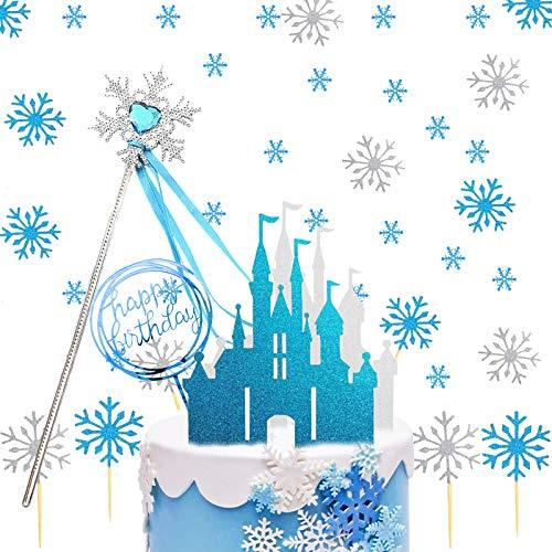 Eiskönigin Tortendeko, Schneeflocken Tortendeko mit Schloss Schneeflocke Konfetti Weiß Silber,Kuchen Topper Glitter,Geburtstag Tortendeko Mädchen,hochzeitstorte Cake Topper, Weihnachten Kuchendeko