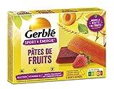 Gerblé Sport et Énergie, Pâtes de Fruits saveurs Pomme-Fraise, Pomme-Abricot, Pomme-Orange, Riches en glucides et en vitamine B1, 6 Emballages individuels, 162g, 99281