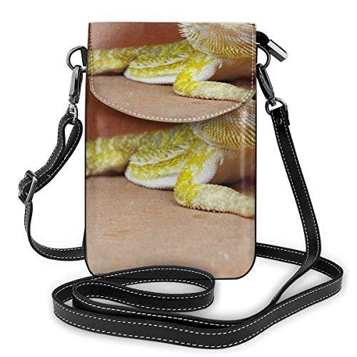 Hdadwy Bolso bandolera pequeño, monedero para teléfono celular, billetera con dragón barbudo, reptil, pasaporte de viaje, bolsos para mujer