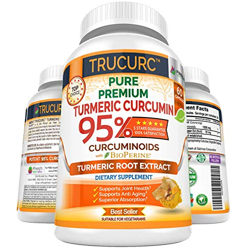 Trucurc Turmeric Curcumin Supplement with 95% Standardized Pure Tumeric Curcumin and Bioperine Black Pepper for Max Absorption- Highest Potency for Anti-Inflammatory Joint Health Support - 60 Capsules