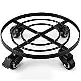 """Amagabeli 12"""" Metal Plant Caddy Heavy Duty Iron Potted Plant Stand With Wheels Round Flower Pot Rack on Rollers Dolly Holder on Wheels Indoor Outdoor Planter Trolley Casters Rolling Tray Coaster"""