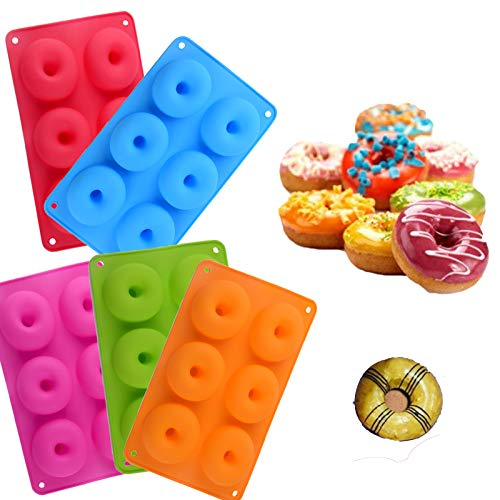 Silicone Donut Pan, Non-Stick Multicolor Silicone Donut Mold, 6 Full-Size Donuts Baking Trays, Bagels and More (All)