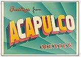 Imán para nevera de Acapulco, diseño de ilustración de saludo turístico vintage