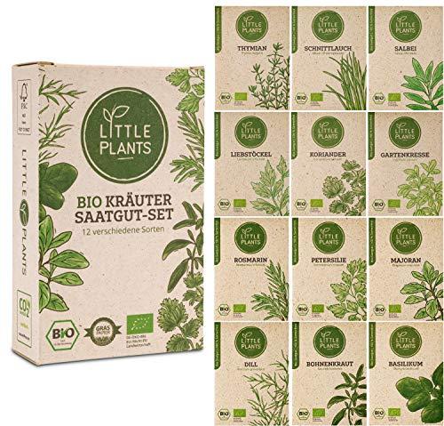 Nachhaltiges BIO-Kräuter Saatgut-Set von Little Plants | 12 samenfeste Sorten | In Graspapier verpackt | Klimaneutral bedruckt | Kräuter-Samen für Küche Balkon und Garten