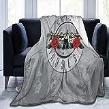 DesireJCuevas Gun-s N' Ro-SES Flannel Blanket Super Soft Warm Cozy Lightweight Easy Care All Season Premium Bed Blanket Available in Three Sizes 50' X 40',60'x50',80'x60'inch