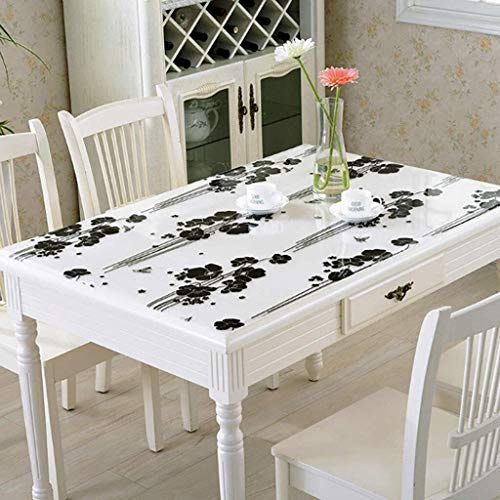 Mantel transparente Rectangular de PVC protector de la tabla, resistente al agua de plástico de vinilo Tabla cubierta a prueba de derrames y fácil de limpiar cena del café Mantel -d 100x100cm (39x39in