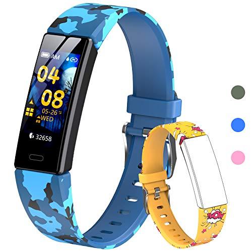 HOFIT Tracker Fitness, Smartwatch con Contapassi, Cardiofrequenzimetro e Monitor Del Sonno, Cronometro, Impermeabile Ip68, Orologio Braccialetto, 2 Cinturini, Regalo per Bambini Di 4-12 Anni (Giallo)