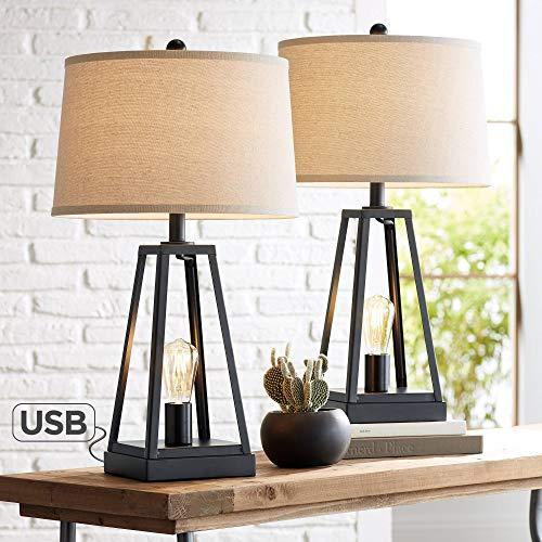 Kacey - Juego de 2 lámparas de mesa industriales con puerto de carga USB, luz nocturna LED, columna abierta, metal oscuro, tela de avena para salón, dormitorio, mesita de noche – Franklin Iron Works