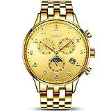 Aesop Reloj mecánico automático para hombre Reloj de pulsera de lujo para hombre Reloj de pulsera resistente al agua Reloj de acero para hombre Reloj para hombre Relogio masculino Hyococ (Color: Gold