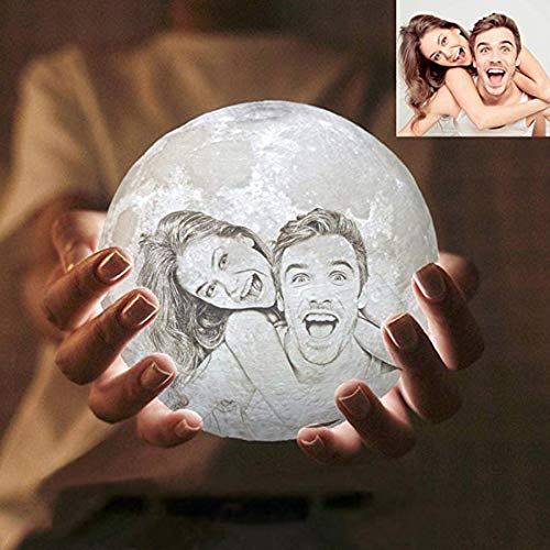 Searchyou - Custom Picture Moon Night, 15CM 3D Printed Personalized Night Light Table Lamps, Rechargeable, 16 Colors, Touch and Remote Control - Creative Gift