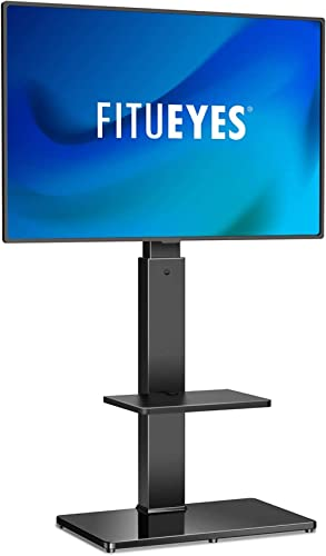 FITUEYES Swivel TV Stand with Mount for Most 32-70 Inch LCD LED Plasma Flat/Curved Screen TVs, 2 Media Storage Shelf ...
