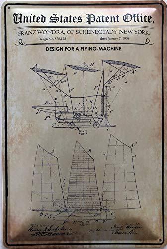Deko7 metalen bord 30 x 20 cm United States Patent Office - Design for a Flying Machine 1908
