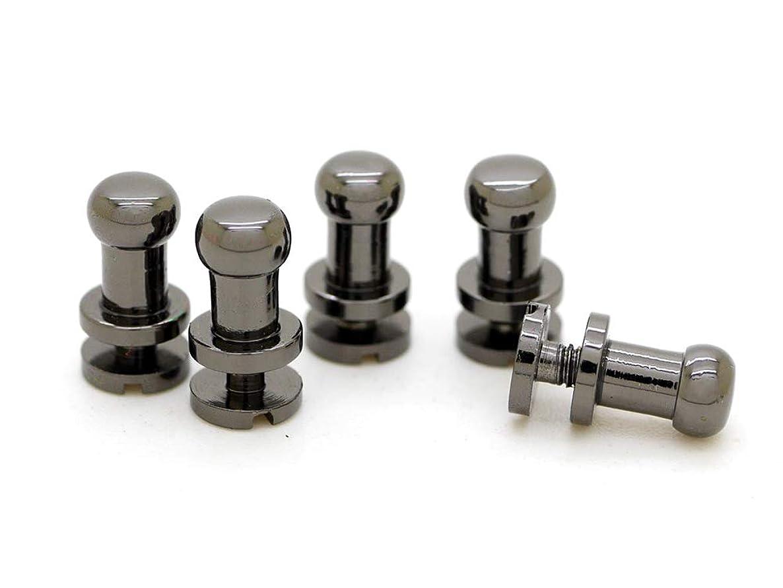 CRAFTMEmore Solid Brass Ball Head Stud Screw Back Nipple Rivet Studs Button Strap Stopper Leathercraft Gunmetal Black Finish 10 Pack (4 mm)
