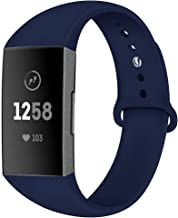 Compatible with Fitbit Charge 3 Band Strap,Silicone Breathable Adjustable Replacement Sport Strap Accessory Band for Fitbit Charge 3 Smartwatch Fitness Wristband Women Men (A-Navy Blue, Large)