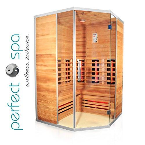 """Infrarotkabine \""""Teneriffa\"""" Infrarot Sauna für bis zu 3 Personen Wärmekabine Infrarotsauna Eckvariante"""