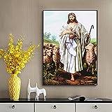 IFUNEW Cuadros Decorativos Lienzo Jesucristo Cordero Santo Impresiones en Lienzo de la época Victoriana Pintura Colorida del Arte religioso Jesús Pastor decoración del Cartel 60x90cm