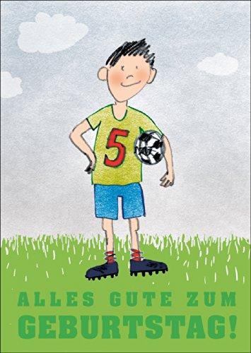 Alles goed voor een verjaardag! Gefeliciteerd kaart voor de 5e verjaardag met brutale voetballer • ook voor directe verzending met hun tekst inlegger • mooie felicitatiekaart met envelop voor beste vrienden en lievelingsmensen.