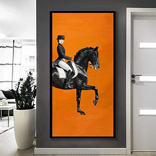 Moderne HD luxe karakter paard canvas schilderij muurschildering foto woonkamer dier mode Nordic stijl woondecoratie-frameloze 50x100 cm