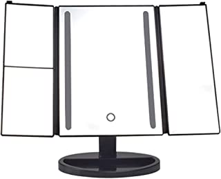 Vanity Mirror Desktop Makeup MirrorLED Light Touch Switch 2 3 Times Magnification Base Storage Function 180 Degree Rotating Bracket ABS HD for Family Dressing Room (Color : Black, Size : 30.5 * 20cm)