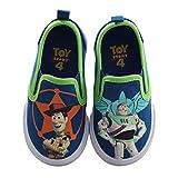Amazon Essentials Kids' Disney Toy Story Canvas Twin Gore Sneakers Walking Shoe, Blue/Green, 8 Medium US Toddler