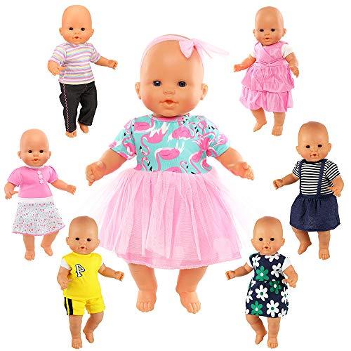 Festfun 7 Vêtements Mignons de Poupée 2 Vêtements + 5 Robes pour Poupée Corolle Vêtement Tenues à La Main Colorés pour Poupée Poupon de 36 CM