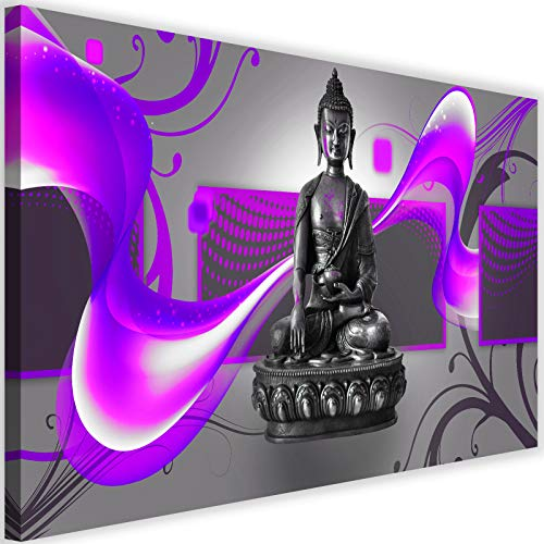 Feeby Cuadro en Lienzo Abstracto Calidad fotografica Buda Zen Meditación Violeta 90x60 cm