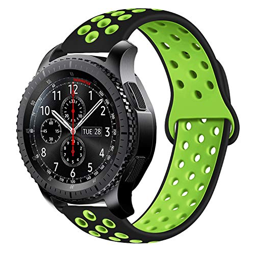 MroTech Armband für Gear S3 Silikonarmband Uhrenarmband 22mm Armband silikon kompatibel für Samsung Galaxy Watch 46mm, S3 Frontier Classic, Huawei 2 Classic, Fossil q 22 Ersatzband -Schwarz/Grün