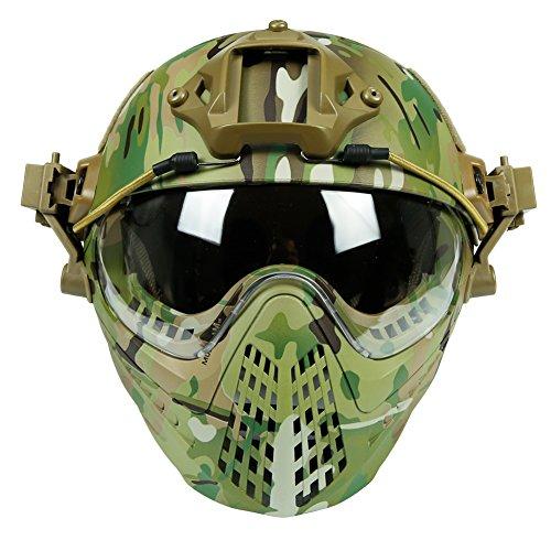 LEJUNJIE Taktische Fast Baotou Helm Outdoor Reiten Maske One Full Face Airsoft Maske Camouflage Edition Ohrschutz Brille für Airsoft Paintball CS Andere Outdoor-Aktivitäten, Camouflage