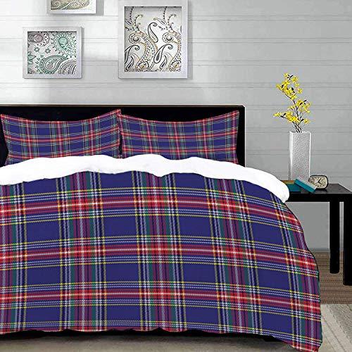 ropa de cama - Juego de funda nórdica, cuadros, estilo tartán escocés anticuado con aspecto...