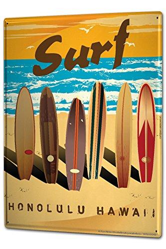 LEotiE SINCE 2004 Blechschild Dekoschild Küche Garage Nostalgie Wandschild Surfbretter Surfen Strand Hawaii 20X30 cm