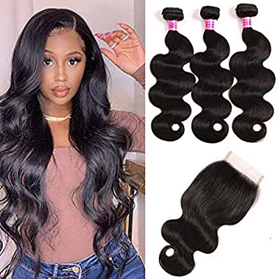 Mureen Brazilian Hair 3 Bundles with Closure Body Wave 4×4 Virgin Hair Lace Closure with Bundles Unprocessed Human Hair Extensions Weave Weft With Closure Natural Color