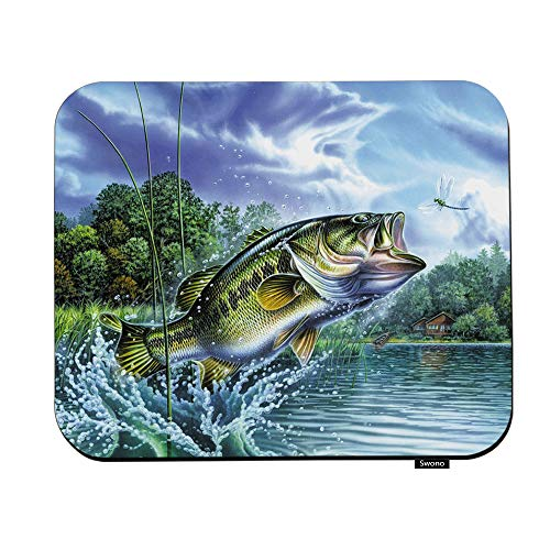 Swono Fishing Mouse Pads Abstract Fishing Painting Art Mouse Pad for Laptop Funny Non-Slip Gaming Mouse Pad for Office Home Travel Mouse Mat 7.9'X9.5'