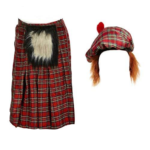 Kilt Falda Escocesa Traje Escocs Disfraces Peluca Sombrero Plaid Falda para Hombre Disfraz De Cosplay