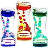 Jaimenalin Temporizador de Burbujas de Movimiento LíQuido para Ni?Os y Adultos Paquete de 3 Temporizador de Reloj de Arena Colorido, Juguete Sensorial para RelajacióN, Juguete Fidget