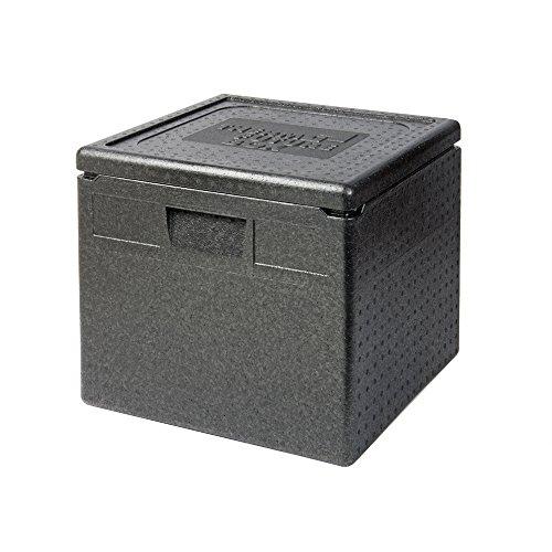 Thermo Future Box Quadratische Thermobx Kühlbox Transportbox Warmhaltebox und Isolierbox mit Deckel, Thermobox aus EPP (expandiertes Polypropylen), Schwarz, 40 l